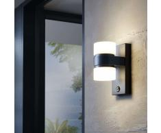 EGLO Lámpara LED pared jardín con sensor Atollari gris antracita 2x6W