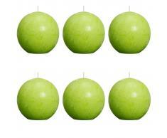 Bolsius Velas rústicas de bola 6 unidades 80 mm verde lima