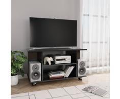 vidaXL Mueble de TV con ruedas aglomerado negro brillante 80x40x40 cm