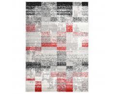 vidaXL Alfombra de PP gris y rojo 160x230 cm