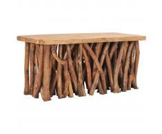 vidaXL Mesa de centro madera maciza reciclada y teca 100x40x47,5 cm