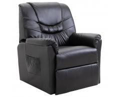 vidaXL Sillón reclinable de cuero sintético negro
