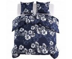 vidaXL Funda nórdica 3 piezas floral 200x200/80x80cm azul marino