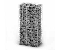 vidaXL Cesta para muro de gaviones de alambre galvanizado 100x50x30 cm