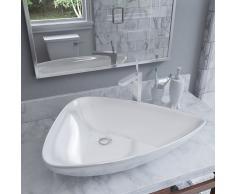 vidaXL Lavabo de cerámica triangular blanco 645x455x115 mm