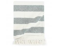 vidaXL Manta a rayas de algodón verde oscuro 125x150 cm