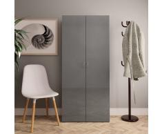 vidaXL Mueble zapatero de aglomerado gris brillante 80x35,5x180 cm