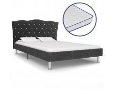 vidaXL Cama con colchón viscoelástico tela gris oscuro 140x200 cm