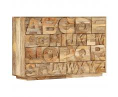 vidaXL Armario con 6 cajones madera maciza mango 120x35x79 cm