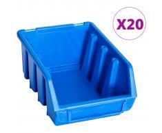 vidaXL Cajas de almacenaje 20 unidades plástico azul