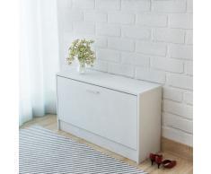 vidaXL Banco zapatero 80x24x45 cm blanco