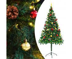 vidaXL Árbol Navidad artificial decorado bolas luces LED 180 cm verde