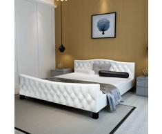 vidaXL Estructura de cama 140x200 cm cuero artificial blanca