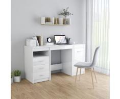 vidaXL Escritorio de aglomerado blanco brillante 140x50x76 cm