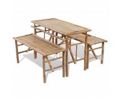 vidaXL Mesa de jardín plegable con 2 bancos 100 cm de bambú