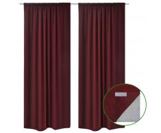 vidaXL 2 cortinas ahorradoras de energía burdeos blackout 140x245cm