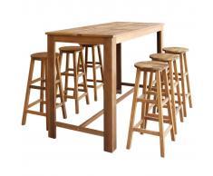 vidaXL Set mesa de bar y taburetes 7 piezas de madera de acacia maciza