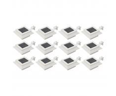 vidaXL Lámparas solares LED de exterior 12 uds. cuadradas 12 cm blanco