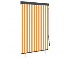 vidaXL Estor enrollable de exterior blanco y naranja 120x250 cm