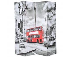 vidaXL Biombo divisor plegable 160x170 cm bus Londres blanco y negro