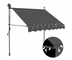vidaXL Toldo manual retráctil con LED gris antracita 150 cm