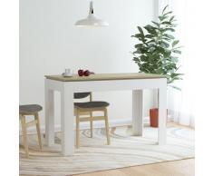 vidaXL Mesa de comedor aglomerado blanco y roble Sonoma 120x60x76 cm