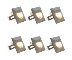 vidaXL Lámparas LED de pared de jardín 6 unidades cuadrada plateada 5W
