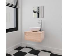 vidaXL Set muebles para baño con lavabo y grifo 4 uds Beis