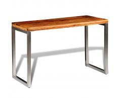 vidaXL Mesa de salón o escritorio madera sheesham con patas de acero