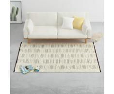 vidaXL Alfombra tejida a mano de lana blanco/negro 160x230 cm