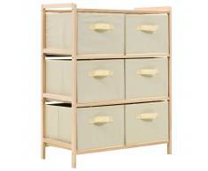 vidaXL Estante de almacenamiento 6 cestas tela y madera cedro beige