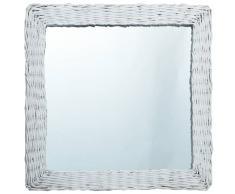 vidaXL Espejo de mimbre blanco 60x60 cm