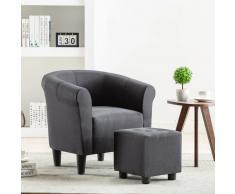 vidaXL Set de sillón con taburete reposapiés 2 piezas tela negro