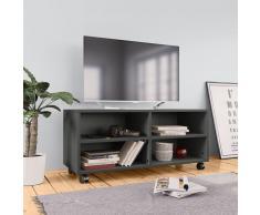 vidaXL Mueble para TV con ruedas aglomerado gris 90x35x35 cm