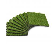 vidaXL Azulejos con césped artificial 10 uds 30x30 cm verde