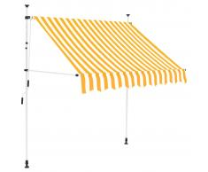 vidaXL Toldo manual retráctil 150 cm amarillo y blanco a rayas