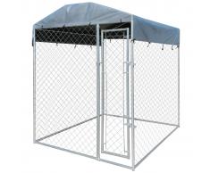 vidaXL Perrera resistente para exteriores con toldo, 200 x 235 cm