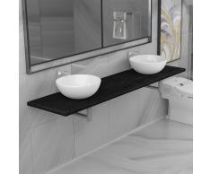 vidaXL Conjunto de muebles de baño de tres piezas cerámica negro