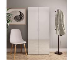 vidaXL Mueble zapatero de aglomerado blanco brillante 80x35,5x180 cm