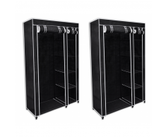 vidaXL Armario de tela plegable, negro, 2 unidades