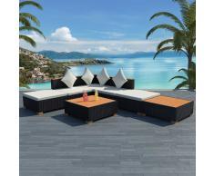 vidaXL Muebles de jardín y cojines 7 piezas ratán sintético negro