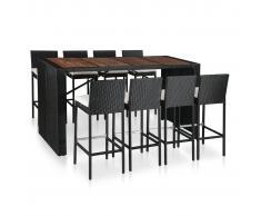 vidaXL Mesa y sillas bar jardín 9 pzas ratán sintético y madera negro