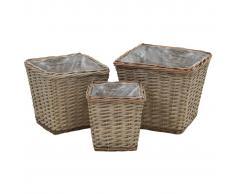 vidaXL Juego cestas almacenaje mimbre con revestimiento de PE 3 piezas