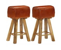 vidaXL Taburetes bar madera de mango maciza y cuero 2 uds 48x31x76 cm