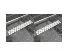 vidaXL Desagüe lineal de ducha 2 piezas 730x140 mm acero inoxidable