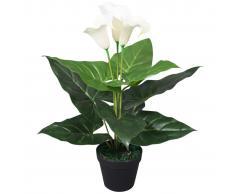 vidaXL Planta cala lilly artificial con macetero 45 cm blanca