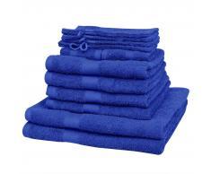 vidaXL Juego de toallas 12 piezas algodón 500 gsm azul klein