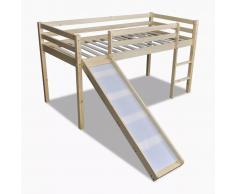 vidaXL Cama alta superior de madera con tobogán y escalera