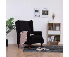 vidaXL Sillón reclinable de tela negro