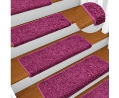 vidaXL Alfombras de peldaños de escalera 15 uds violeta 65x25 cm